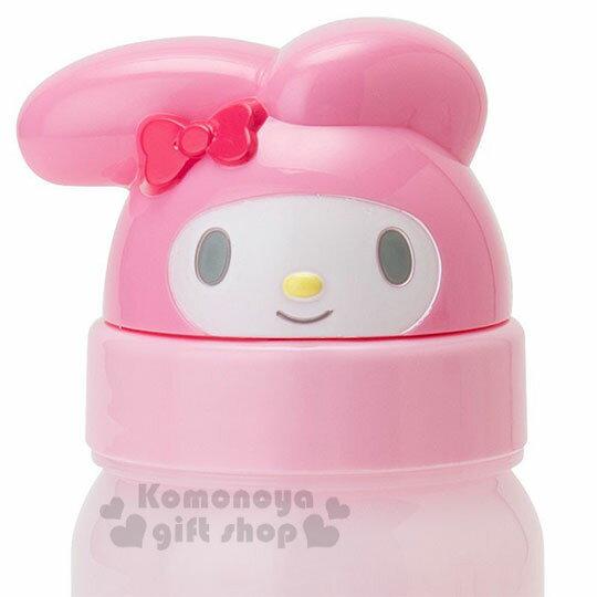 〔小禮堂〕Hello Kitty 美樂蒂 造型吸管水壺附腕繩《大臉》350ml.兒童水壺.水瓶 6