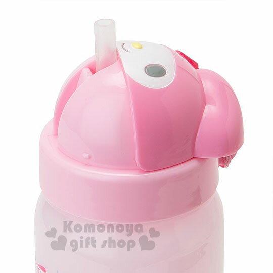 〔小禮堂〕Hello Kitty 美樂蒂 造型吸管水壺附腕繩《大臉》350ml.兒童水壺.水瓶 8
