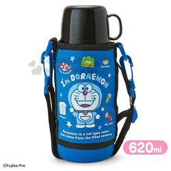 〔小禮堂〕哆啦A夢 兩用不鏽鋼保溫瓶附水壺袋《藍黑.站姿》670ml.水壺.水瓶