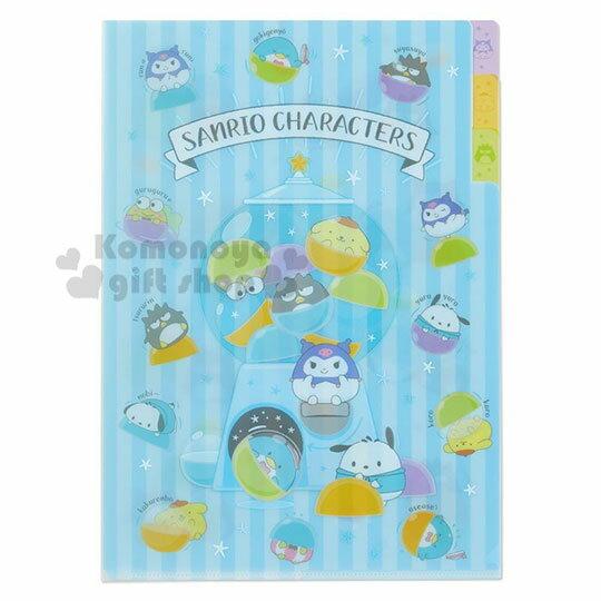 〔小禮堂〕Sanrio大集合 日製L型分類文件夾《A4.藍》資料夾.L夾.檔案夾.果凍泡泡系列