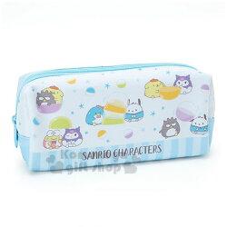 〔小禮堂〕Sanrio大集合 帆布雙層拉鍊筆袋《藍》收納包.化妝包.鉛筆盒.果凍泡泡系列