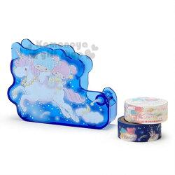 〔小禮堂〕雙子星 造型塑膠膠台附膠帶《深藍》膠帶切台.膠帶收納.迷夜星辰系列