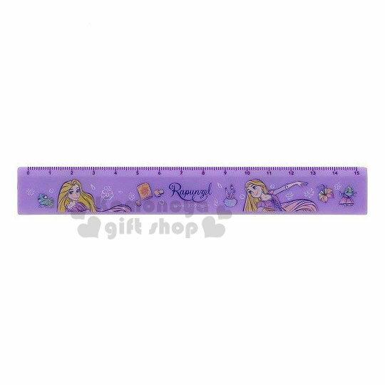 〔小禮堂〕迪士尼 長髮公主 塑膠直尺《紫.仰頭》15cm.量尺.學童文具