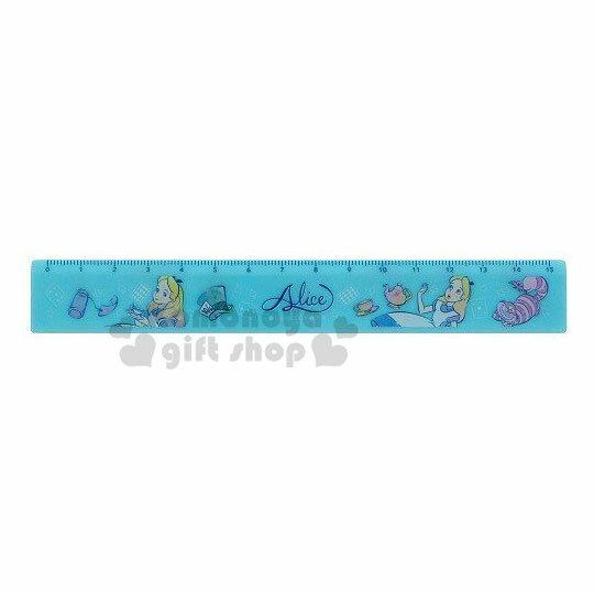 〔小禮堂〕迪士尼 愛麗絲 塑膠直尺《藍.仰頭》15cm.量尺.學童文具