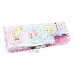 〔小禮堂〕迪士尼 TsumTsum 公主 雙開多功能鉛筆盒《粉紫.角色》學童文具.筆袋