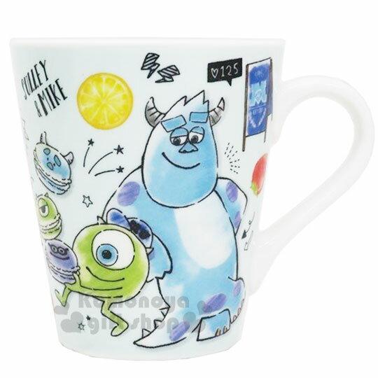 〔小禮堂〕迪士尼 怪獸大學 陶瓷馬克杯《綠.馬卡龍》咖啡杯.茶杯.精緻盒裝