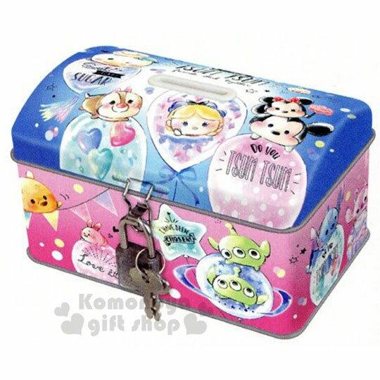 〔小禮堂〕迪士尼 TsumTsum 方形鐵製存錢筒附鎖《粉藍.汽球》撲滿.儲金筒.精緻盒裝