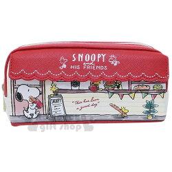 〔小禮堂〕史努比 皮質花邊拉鍊筆袋《米紅.三明治店》鉛筆盒.收納包.化妝包