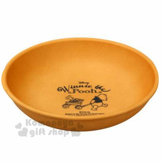 〔小禮堂〕迪士尼 小熊維尼 日製仿木紋塑膠圓盤《棕》沙拉盤.點心盤.菜盤 0