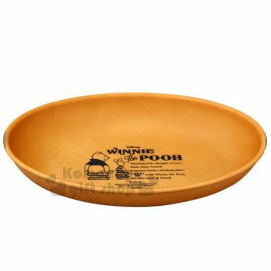 〔小禮堂〕迪士尼 小熊維尼 日製仿木紋塑膠橢圓盤《棕》沙拉盤.炒飯盤.菜盤 0