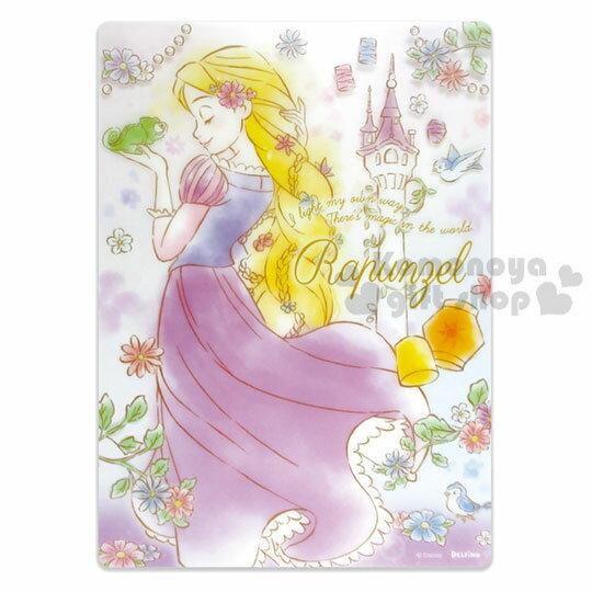 〔小禮堂〕迪士尼 長髮公主 日製透明硬墊板《B5.紫.拿青蛙》學童文具.桌墊