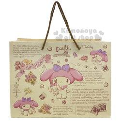 〔小禮堂〕美樂蒂 日製橫式手提紙袋《M.米.抱兔子》包裝袋.禮物袋