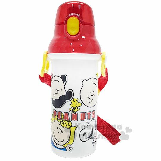 〔小禮堂〕史努比 日製直飲式水壺附背帶《紅白.大臉》480ml.水瓶.兒童水壺 0