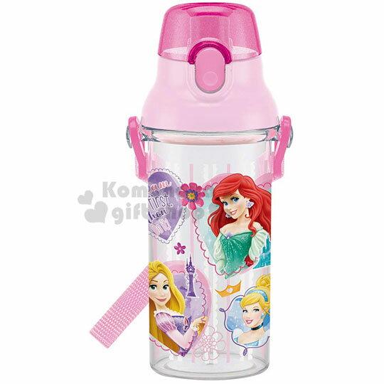 〔小禮堂〕迪士尼 公主 日製透明直飲式水壺附背帶《粉.大臉》480ml.水瓶.兒童水壺 0