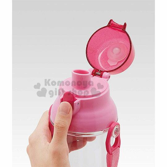 〔小禮堂〕迪士尼 公主 日製透明直飲式水壺附背帶《粉.大臉》480ml.水瓶.兒童水壺 1