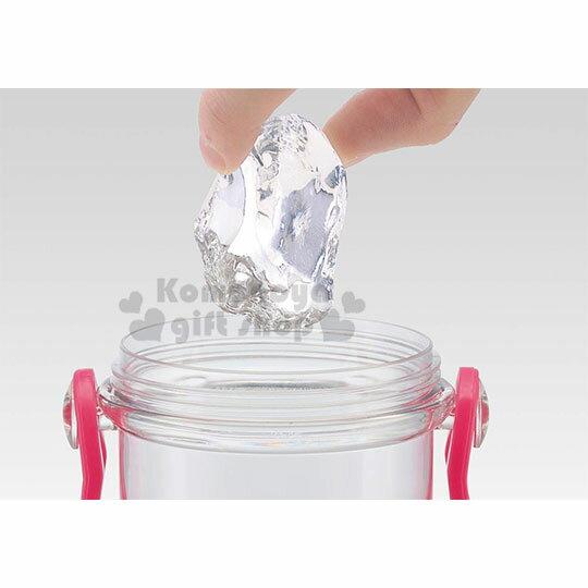 〔小禮堂〕迪士尼 公主 日製透明直飲式水壺附背帶《粉.大臉》480ml.水瓶.兒童水壺 2