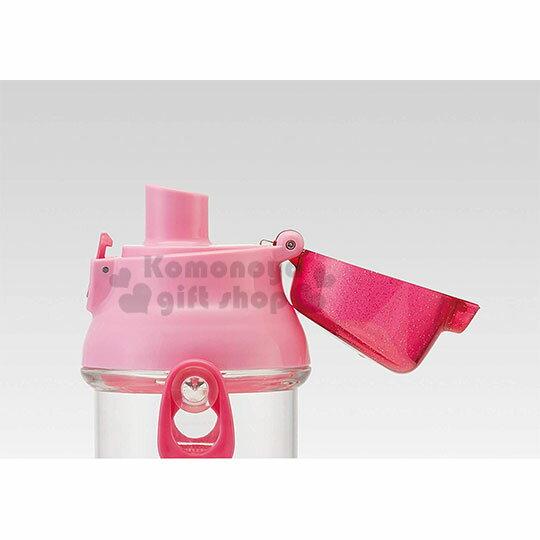 〔小禮堂〕迪士尼 公主 日製透明直飲式水壺附背帶《粉.大臉》480ml.水瓶.兒童水壺 3