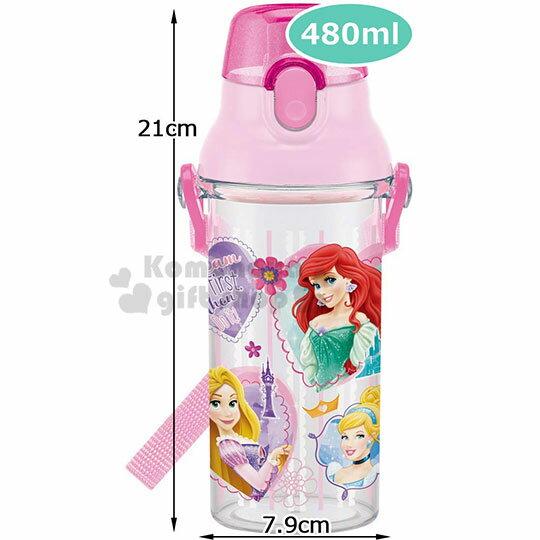 〔小禮堂〕迪士尼 公主 日製透明直飲式水壺附背帶《粉.大臉》480ml.水瓶.兒童水壺 4