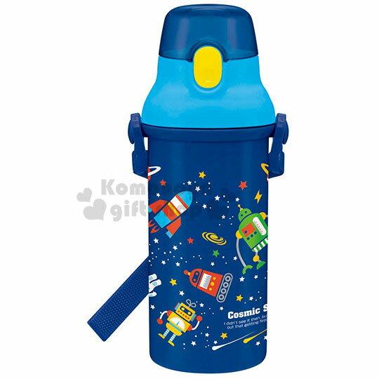 〔小禮堂〕Cosmic star 日製直飲式水壺附背帶《藍.星球》480ml.水瓶.兒童水壺 0