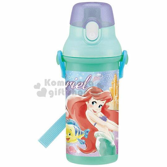 〔小禮堂〕迪士尼 小美人魚 日製直飲式水壺附背帶《綠.站姿》480ml.水瓶.兒童水壺 0