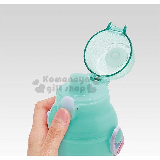 〔小禮堂〕迪士尼 小美人魚 日製直飲式水壺附背帶《綠.站姿》480ml.水瓶.兒童水壺 1