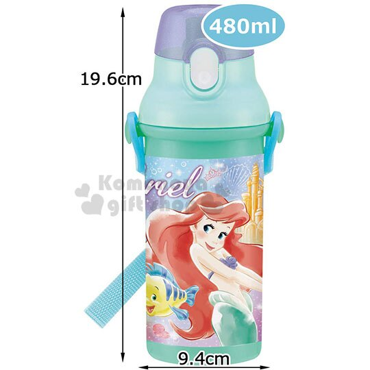 〔小禮堂〕迪士尼 小美人魚 日製直飲式水壺附背帶《綠.站姿》480ml.水瓶.兒童水壺 4