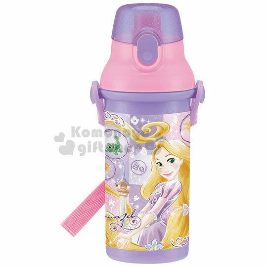 〔小禮堂〕迪士尼 長髮公主 日製直飲式水壺附背帶《紫.站姿》480ml.水瓶.兒童水壺 0