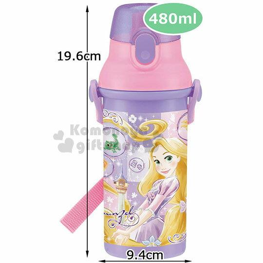 〔小禮堂〕迪士尼 長髮公主 日製直飲式水壺附背帶《紫.站姿》480ml.水瓶.兒童水壺 4