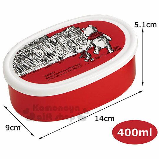 【領券折$30】小禮堂 迪士尼 小熊維尼 日製橢圓形保鮮盒組《3入.紅白》便當盒.食物盒