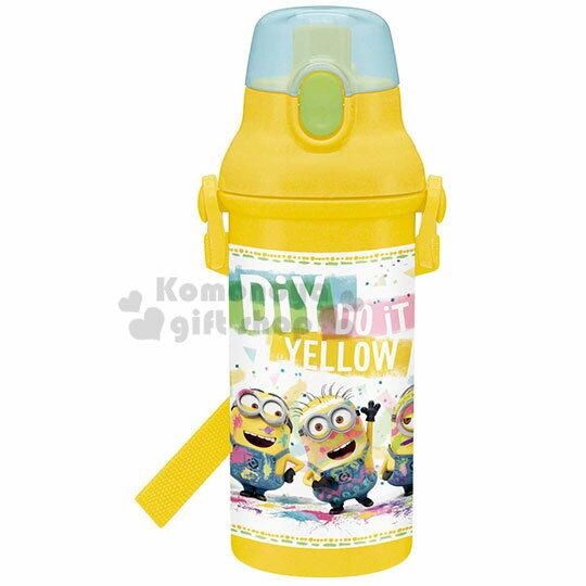 〔小禮堂〕小小兵 日製直飲式水壺附背帶《黃.油漆》480ml.水瓶.兒童水壺 0