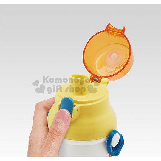 〔小禮堂〕小小兵 日製直飲式水壺附背帶《黃.油漆》480ml.水瓶.兒童水壺 1