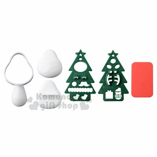 〔小禮堂〕聖誕老人 聖誕節 聖誕樹 飯糰壓模組《綠紅.泡殼裝》模具.模型.押花 0