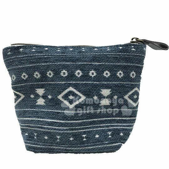 〔小禮堂〕史努比 棉布船型化妝包《米藍.幾何圖紋》收納包.萬用包 1