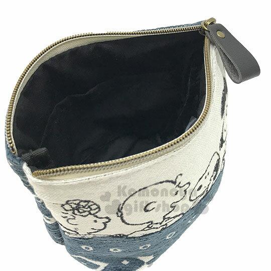 〔小禮堂〕史努比 棉布船型化妝包《米藍.幾何圖紋》收納包.萬用包 2