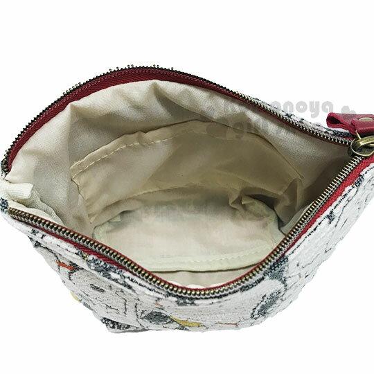 〔小禮堂〕史努比 棉布船型化妝包《米.大臉》收納包.萬用包 2