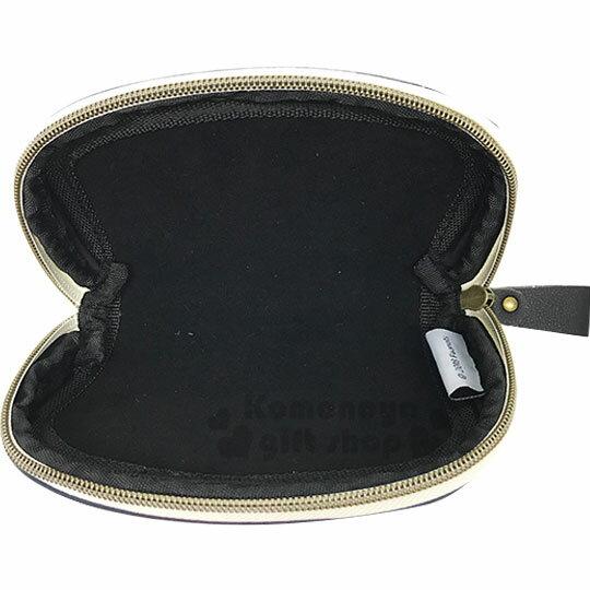 〔小禮堂〕史努比 棉布半圓化妝包《米藍.幾何圖紋》收納包.萬用包 3