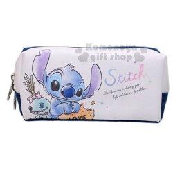〔小禮堂〕迪士尼 史迪奇 皮質拉鍊筆袋《米藍.吃餅乾》化妝包.收納包.鉛筆盒