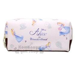 〔小禮堂〕迪士尼 愛麗絲 皮質拉鍊筆袋《米棕.閉眼》化妝包.收納包.鉛筆盒
