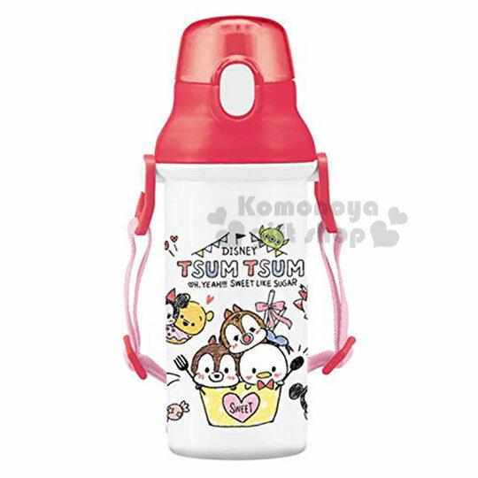 〔小禮堂〕迪士尼TSUMTSUM 日製直飲式水壺附背帶《紅白.大臉》480ml.水瓶.兒童水壺 0