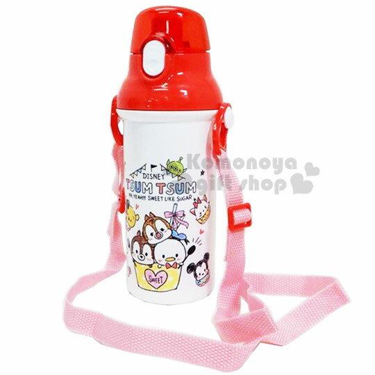 〔小禮堂〕迪士尼TSUMTSUM 日製直飲式水壺附背帶《紅白.大臉》480ml.水瓶.兒童水壺 1