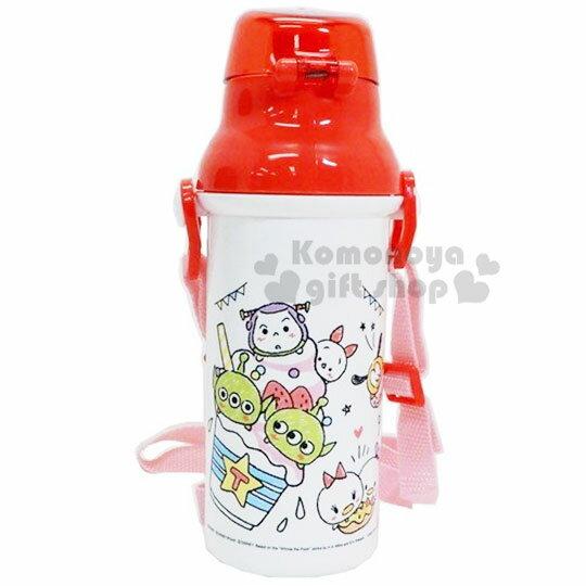 〔小禮堂〕迪士尼TSUMTSUM 日製直飲式水壺附背帶《紅白.大臉》480ml.水瓶.兒童水壺 2