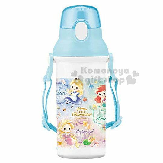 〔小禮堂〕迪士尼TSUMTSUM 公主 日製直飲式水壺附背帶《藍白.花朵》480ml.水瓶.兒童水壺 0