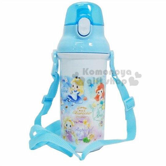 〔小禮堂〕迪士尼TSUMTSUM 公主 日製直飲式水壺附背帶《藍白.花朵》480ml.水瓶.兒童水壺 1