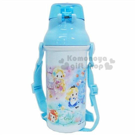 〔小禮堂〕迪士尼TSUMTSUM 公主 日製直飲式水壺附背帶《藍白.花朵》480ml.水瓶.兒童水壺 2