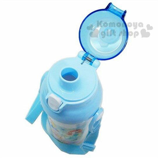 〔小禮堂〕迪士尼TSUMTSUM 公主 日製直飲式水壺附背帶《藍白.花朵》480ml.水瓶.兒童水壺 3