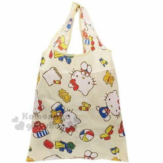 〔小禮堂〕Hello Kitty 可折疊尼龍環保購物袋《米.抱小熊》環保袋.手提袋 0