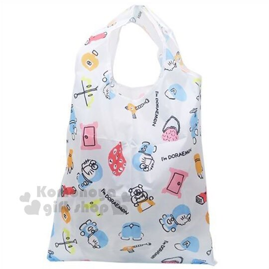 〔小禮堂〕哆啦A夢 可折疊尼龍環保購物袋《藍.道具》環保袋.手提袋 0