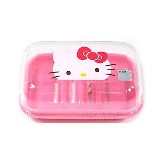 〔小禮堂〕Hello Kitty 方形透明塑膠肥皂盒附蓋《粉.大臉》皂盒.皂盤