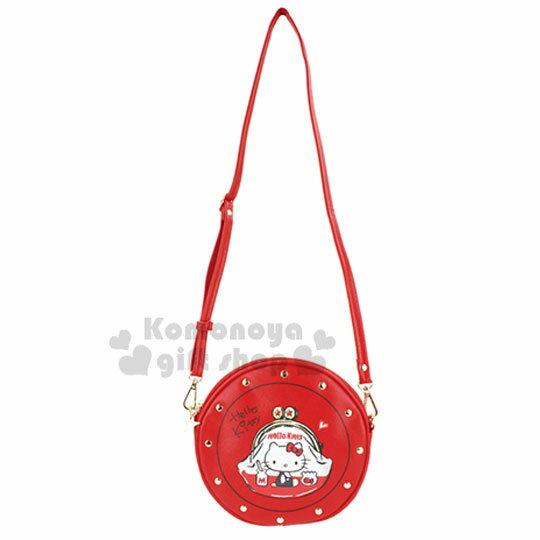 小禮堂 Hello Kitty 圓形鉚釘皮質斜背包《紅.零錢包》手拿包.肩背包.側背包