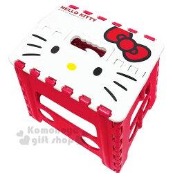 〔小禮堂〕Hello Kitty 攜帶式塑膠折疊椅《M.紅.大臉》矮凳.板凳.野餐椅